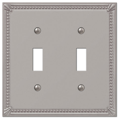 Imperial Bead Brushed Nickel Cast - 2 Toggle Wallplate - Wallplate Warehouse