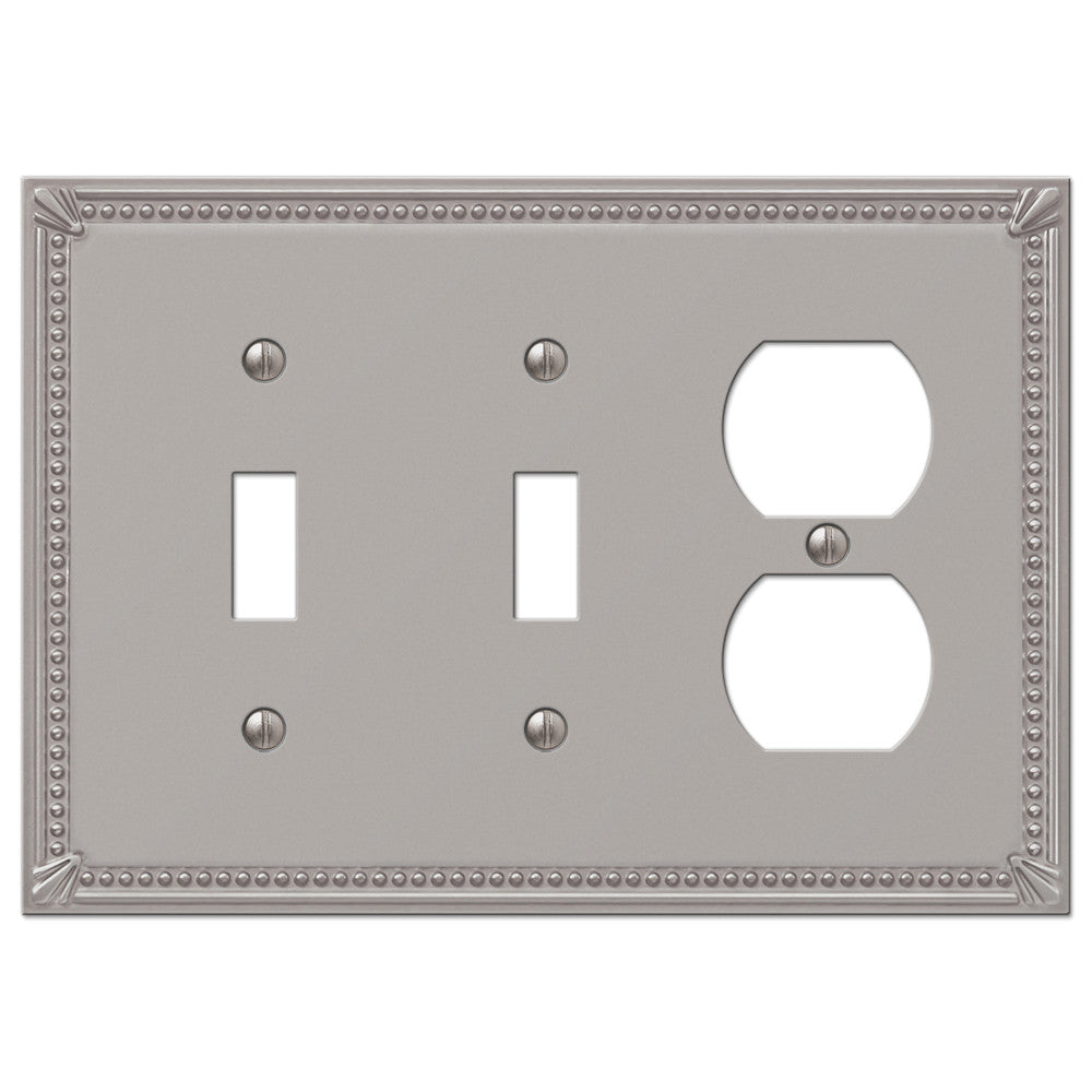 Imperial Bead Brushed Nickel Cast - 2 Toggle / 1 Duplex Outlet Wallplate - Wallplate Warehouse