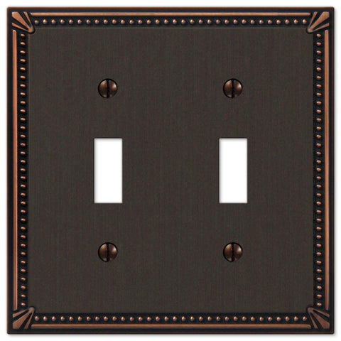 Imperial Bead Aged Bronze Cast - 2 Toggle Wallplate - Wallplate Warehouse