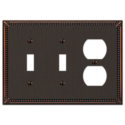 Imperial Bead Aged Bronze Cast - 2 Toggle / 1 Duplex Outlet Wallplate - Wallplate Warehouse