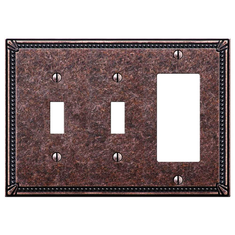 Imperial Bead Tumbled Aged Bronze Cast - 2 Toggle / 1 Rocker Wallplate - Wallplate Warehouse
