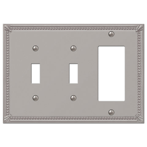 Imperial Bead Brushed Nickel Cast - 2 Toggle / 1 Rocker Wallplate - Wallplate Warehouse