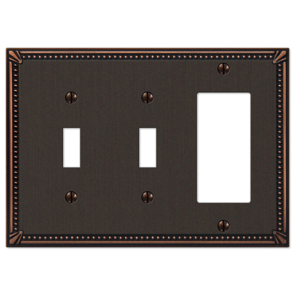 Imperial Bead Aged Bronze Cast - 2 Toggle / 1 Rocker Wallplate - Wallplate Warehouse