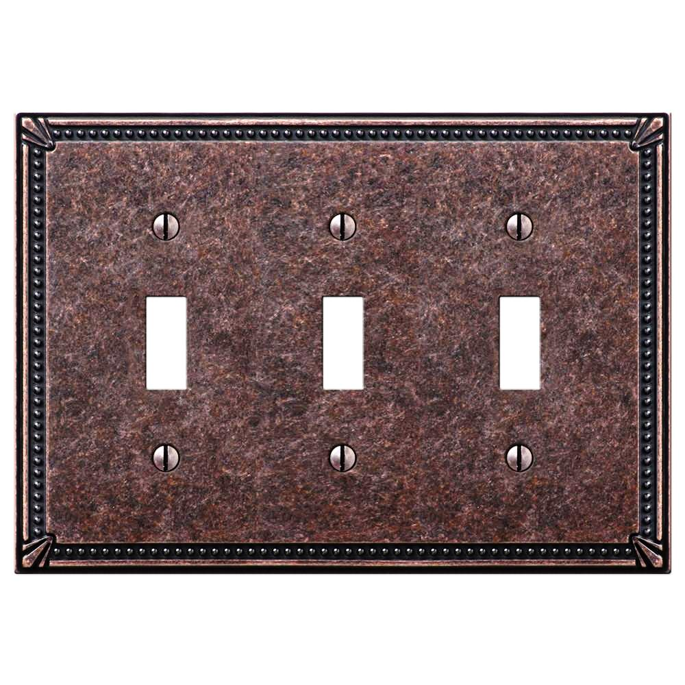 Imperial Bead Tumbled Aged Bronze Cast - 3 Toggle Wallplate - Wallplate Warehouse