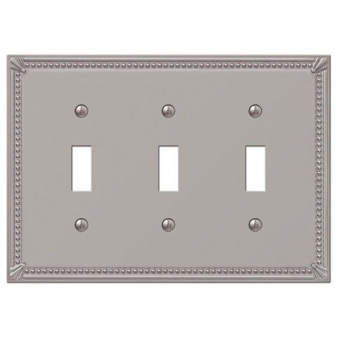 Imperial Bead Brushed Nickel Cast - 3 Toggle Wallplate - Wallplate Warehouse