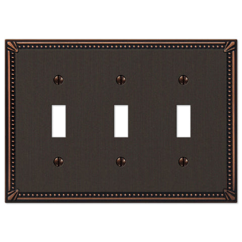 Imperial Bead Aged Bronze Cast - 3 Toggle Wallplate - Wallplate Warehouse