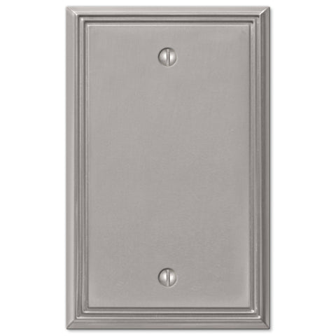 Metro Line Brushed Nickel Cast - 1 Blank Wallplate - Wallplate Warehouse