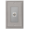 Metro Line Brushed Nickel Cast - 1 Cable Jack Wallplate - Wallplate Warehouse