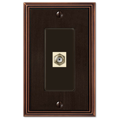 Metro Line Aged Bronze Cast - 1 Cable Jack Wallplate - Wallplate Warehouse