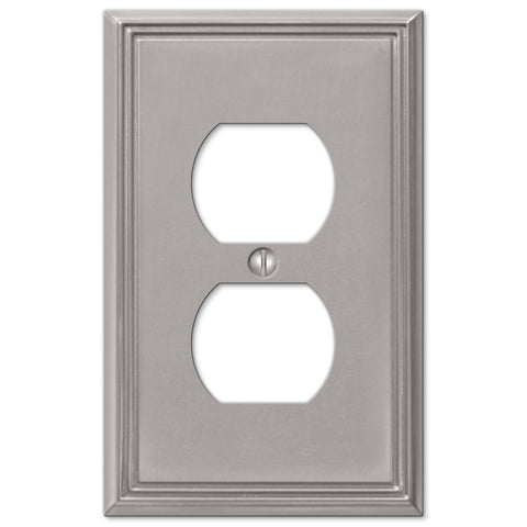 Metro Line Brushed Nickel Cast - 1 Duplex Outlet Wallplate - Wallplate Warehouse