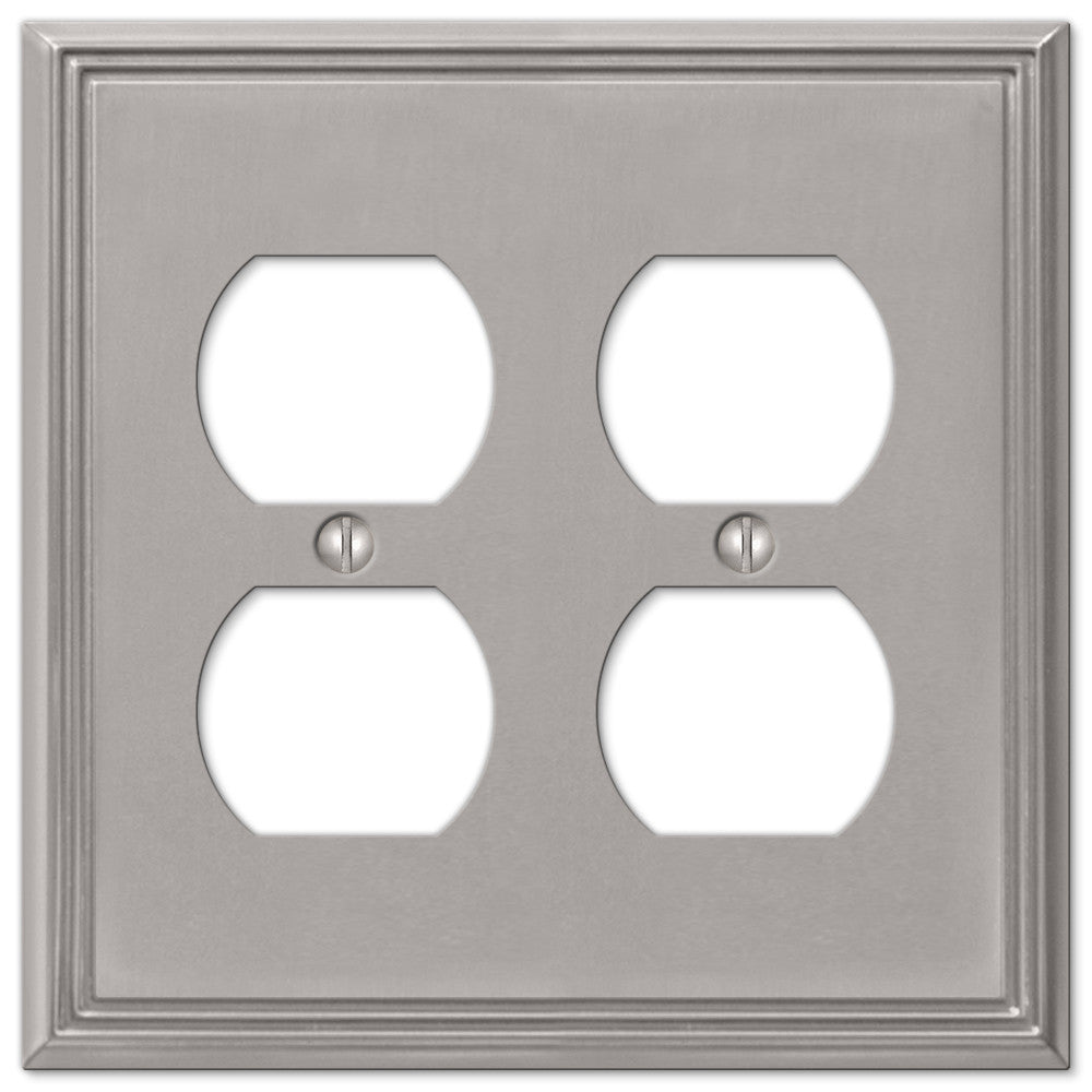 Metro Line Brushed Nickel Cast - 2 Duplex Outlet Wallplate - Wallplate Warehouse