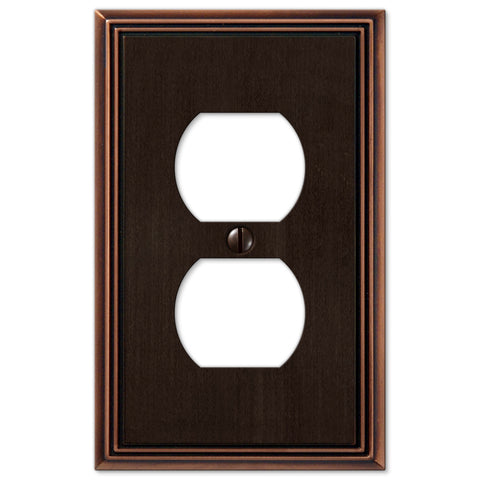 Metro Line Aged Bronze Cast - 1 Duplex Outlet Wallplate - Wallplate Warehouse