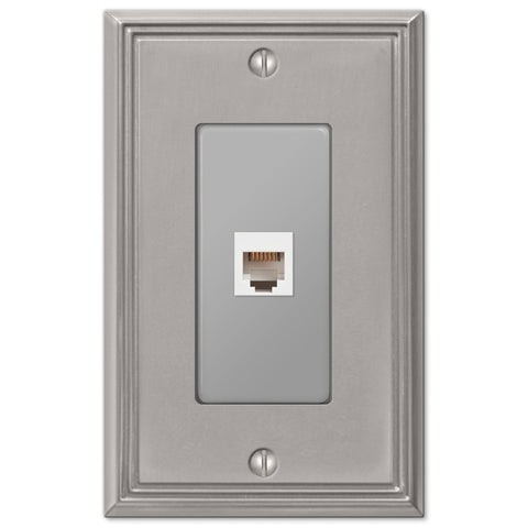 Metro Line Brushed Nickel Cast - 1 Phone Jack Wallplate - Wallplate Warehouse
