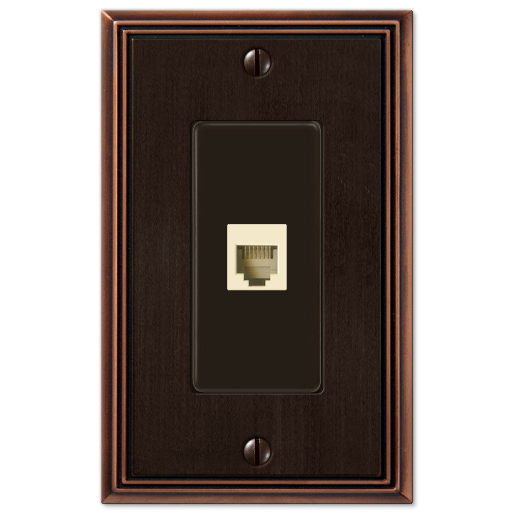 Metro Line Aged Bronze Cast - 1 Phone Jack Wallplate - Wallplate Warehouse