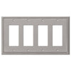 Metro Line Brushed Nickel Cast - 4 Rocker Wallplate - Wallplate Warehouse