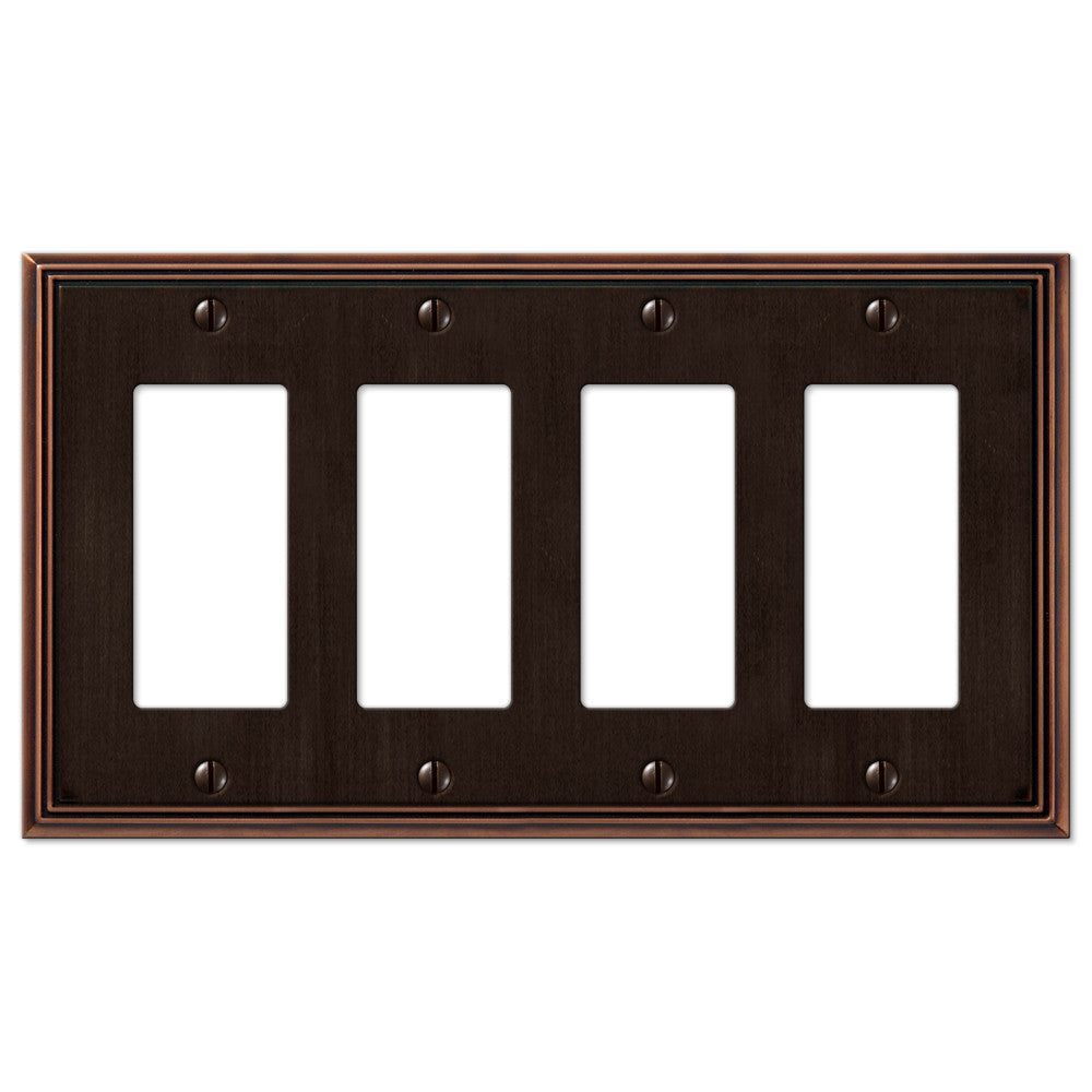 Metro Line Aged Bronze Cast - 4 Rocker Wallplate - Wallplate Warehouse