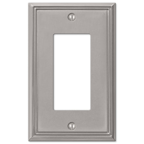 Metro Line Brushed Nickel Cast - 1 Rocker Wallplate - Wallplate Warehouse