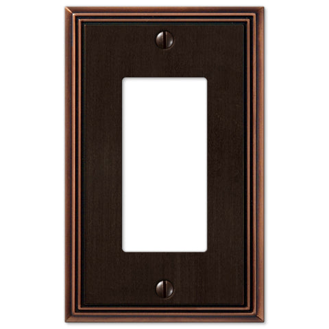 Metro Line Aged Bronze Cast - 1 Rocker Wallplate - Wallplate Warehouse