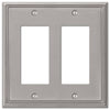 Metro Line Brushed Nickel Cast - 2 Rocker Wallplate - Wallplate Warehouse