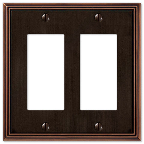 Metro Line Aged Bronze Cast - 2 Rocker Wallplate - Wallplate Warehouse
