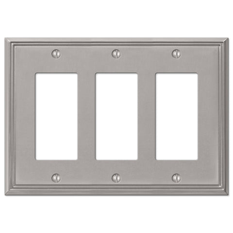 Metro Line Brushed Nickel Cast - 3 Rocker Wallplate - Wallplate Warehouse
