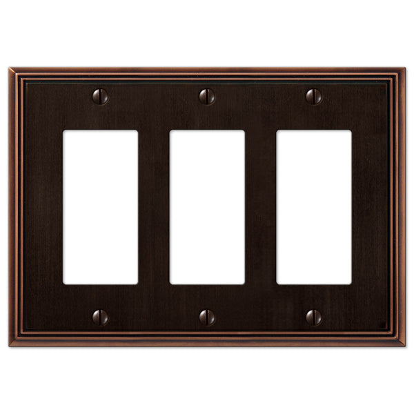 Metro Line Aged Bronze Cast - 3 Rocker Wallplate - Wallplate Warehouse