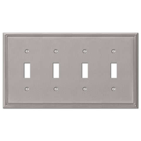 Metro Line Brushed Nickel Cast - 4 Toggle Wallplate - Wallplate Warehouse