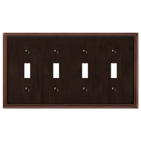 Metro Line Aged Bronze Cast - 4 Toggle Wallplate - Wallplate Warehouse