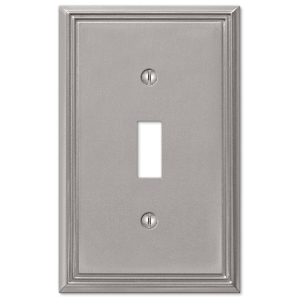 Metro Line Brushed Nickel Cast - 1 Toggle Wallplate - Wallplate Warehouse