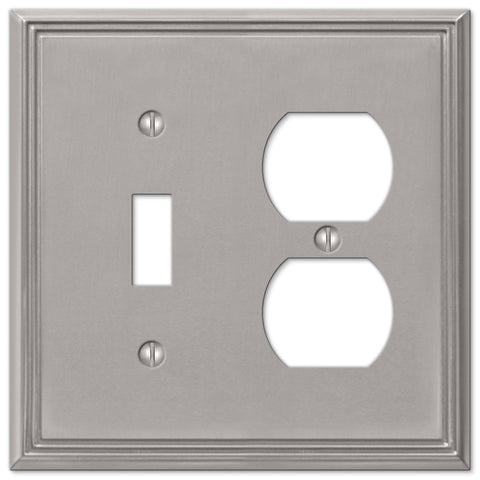 Metro Line Brushed Nickel Cast - 1 Toggle / 1 Duplex Outlet Wallplate - Wallplate Warehouse