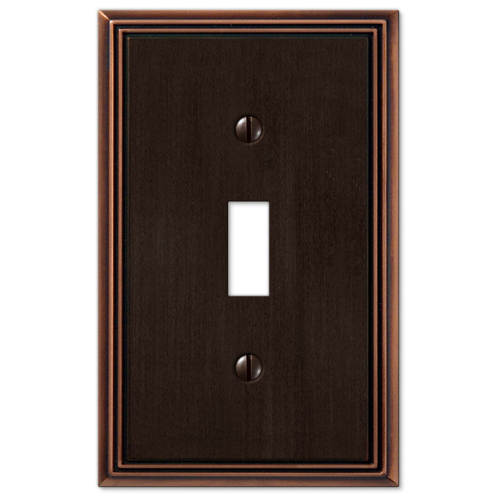 Metro Line Aged Bronze Cast - 1 Toggle Wallplate - Wallplate Warehouse
