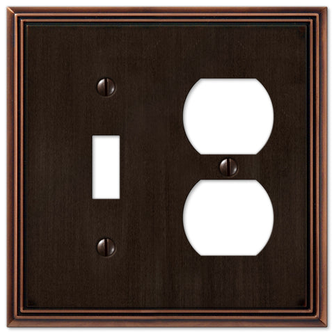 Metro Line Aged Bronze Cast - 1 Toggle / 1 Duplex Outlet Wallplate - Wallplate Warehouse