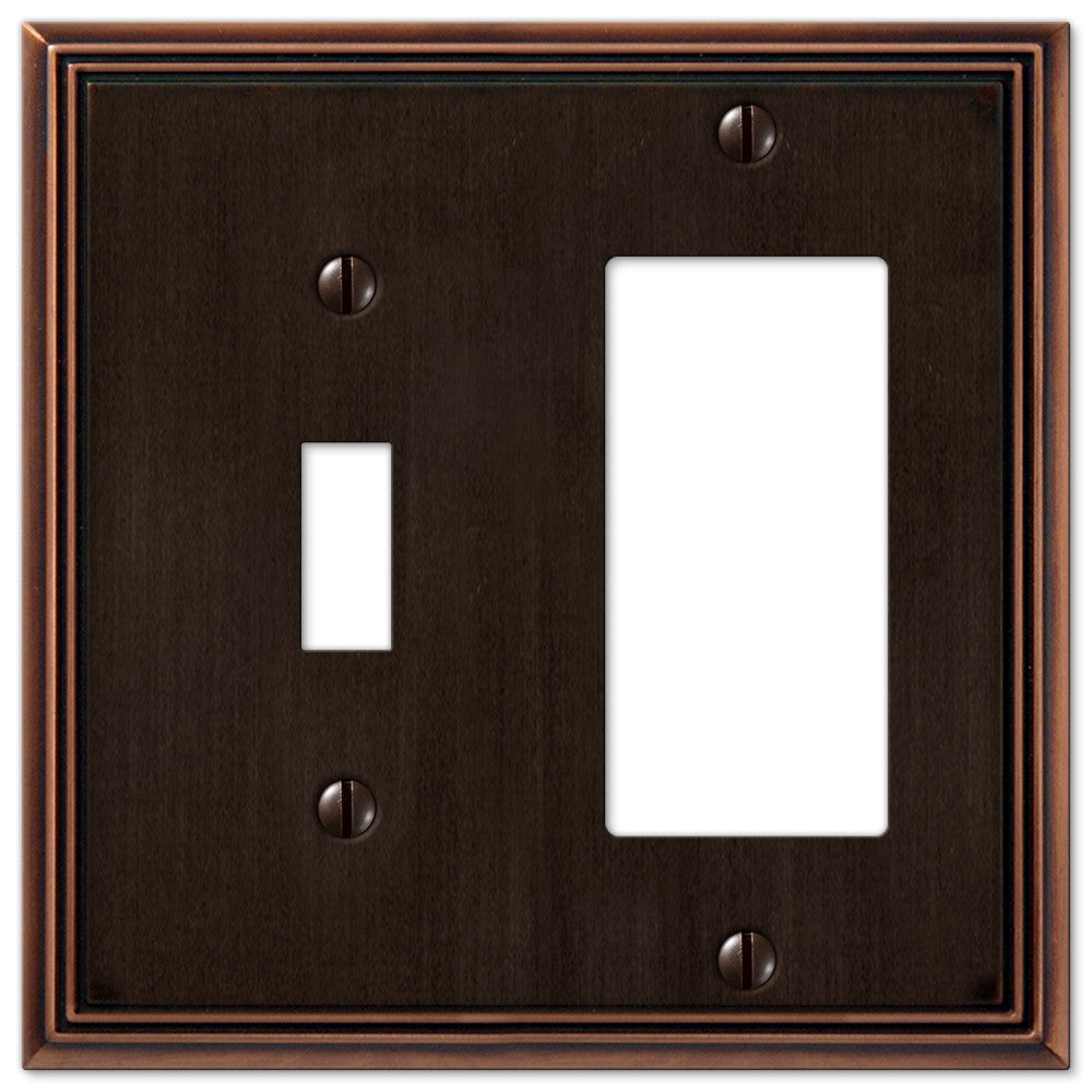 Metro Line Aged Bronze Cast - 1 Toggle / 1 Rocker Wallplate - Wallplate Warehouse