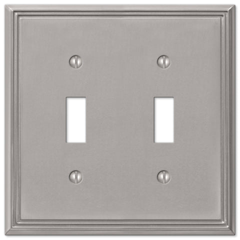 Metro Line Brushed Nickel Cast - 2 Toggle Wallplate - Wallplate Warehouse