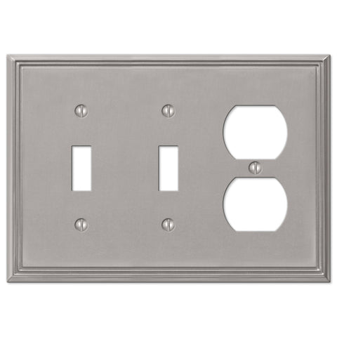 Metro Line Brushed Nickel Cast - 2 Toggle / 1 Duplex Outlet Wallplate - Wallplate Warehouse