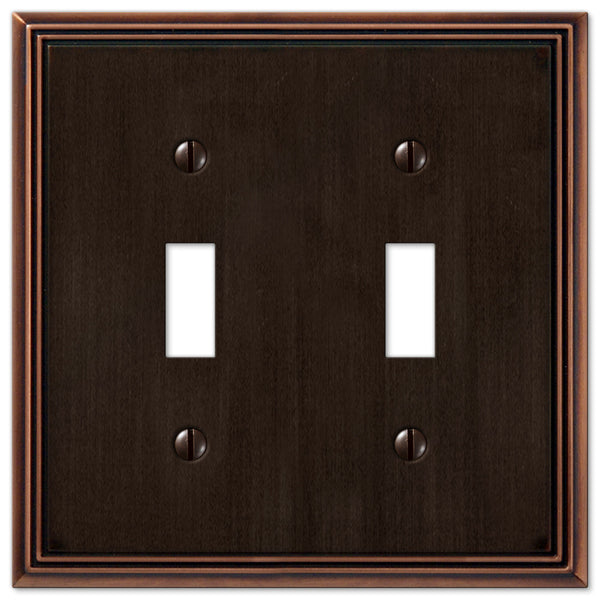 Metro Line Aged Bronze Cast - 2 Toggle Wallplate - Wallplate Warehouse