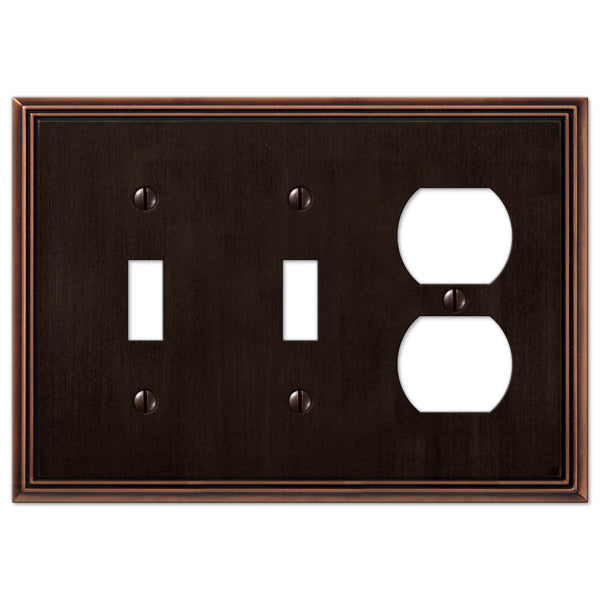 Metro Line Aged Bronze Cast - 2 Toggle / 1 Duplex Outlet Wallplate - Wallplate Warehouse