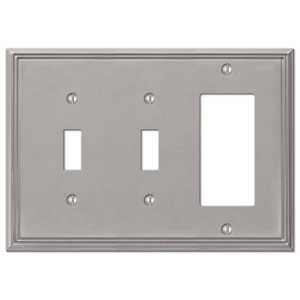 Metro Line Brushed Nickel Cast - 2 Toggle / 1 Rocker Wallplate - Wallplate Warehouse