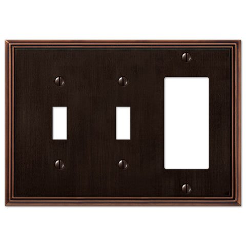 Metro Line Aged Bronze Cast - 2 Toggle / 1 Rocker Wallplate - Wallplate Warehouse