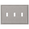 Metro Line Brushed Nickel Cast - 3 Toggle Wallplate - Wallplate Warehouse