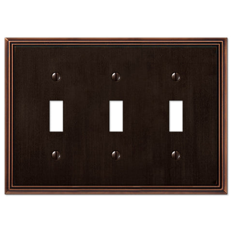 Metro Line Aged Bronze Cast - 3 Toggle Wallplate - Wallplate Warehouse
