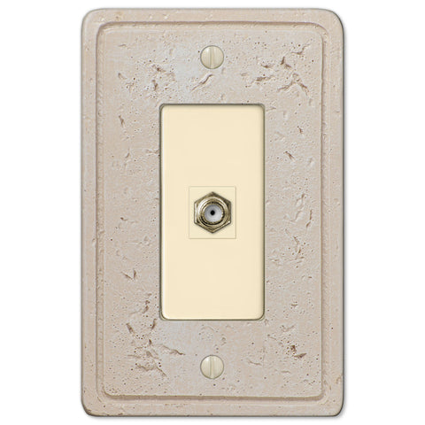 Faux Stone Cream Resin - 1 Cable Jack Wallplate - Wallplate Warehouse