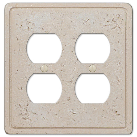 Faux Stone Cream Resin - 2 Duplex Outlet Wallplate - Wallplate Warehouse