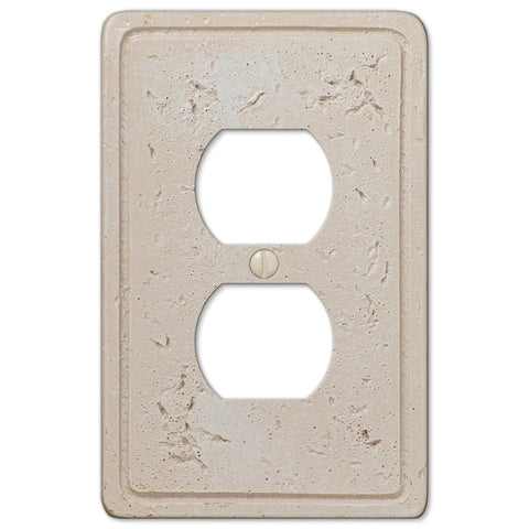 Faux Stone Cream Resin - 1 Duplex Outlet Wallplate - Wallplate Warehouse