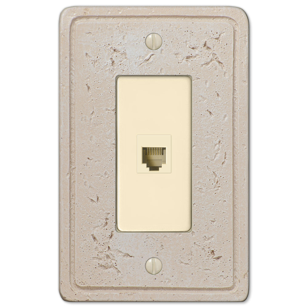 Faux Stone Cream Resin - 1 Phone Jack Wallplate - Wallplate Warehouse