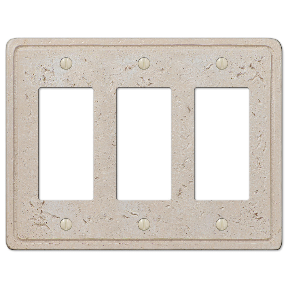 Faux Stone Cream Resin - 3 Rocker Wallplate - Wallplate Warehouse