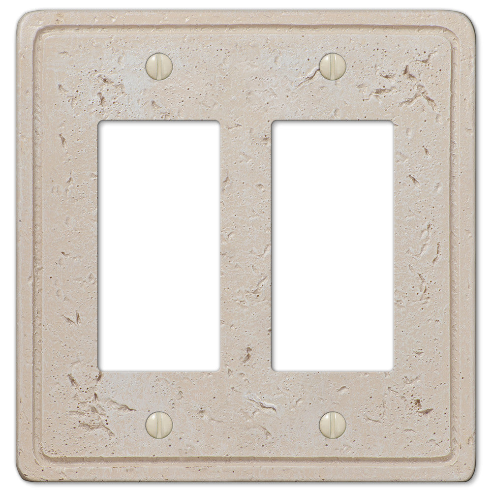 Faux Stone Cream Resin - 2 Rocker Wallplate - Wallplate Warehouse