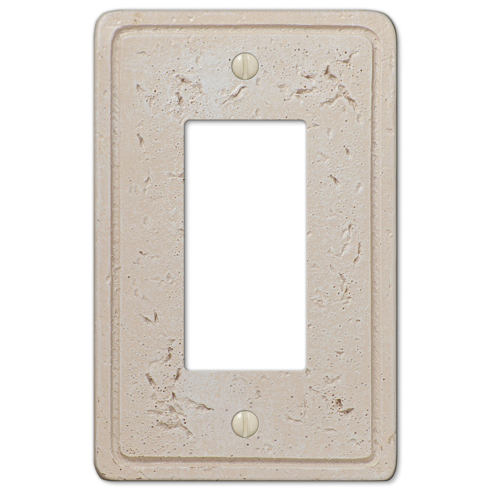 Faux Stone Cream Resin - 1 Rocker Wallplate - Wallplate Warehouse