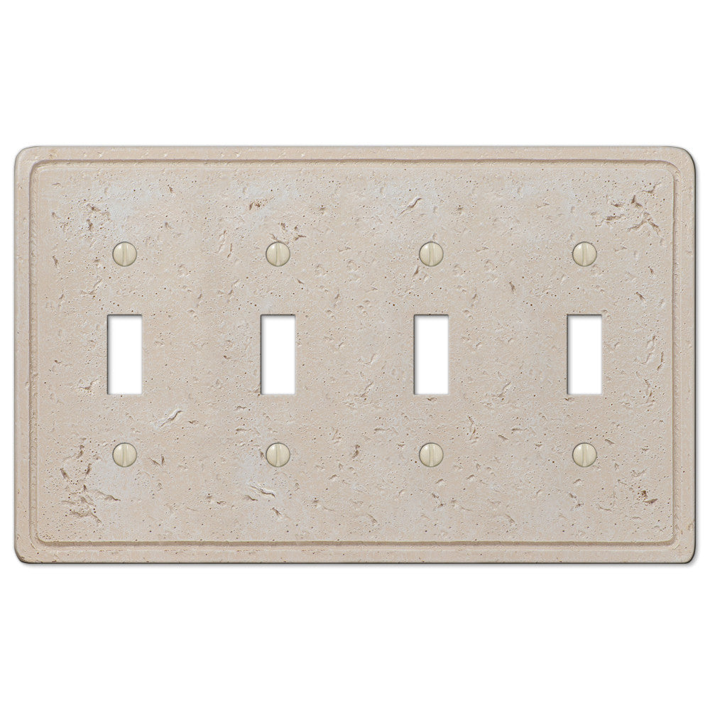 Faux Stone Cream Resin - 4 Toggle Wallplate - Wallplate Warehouse