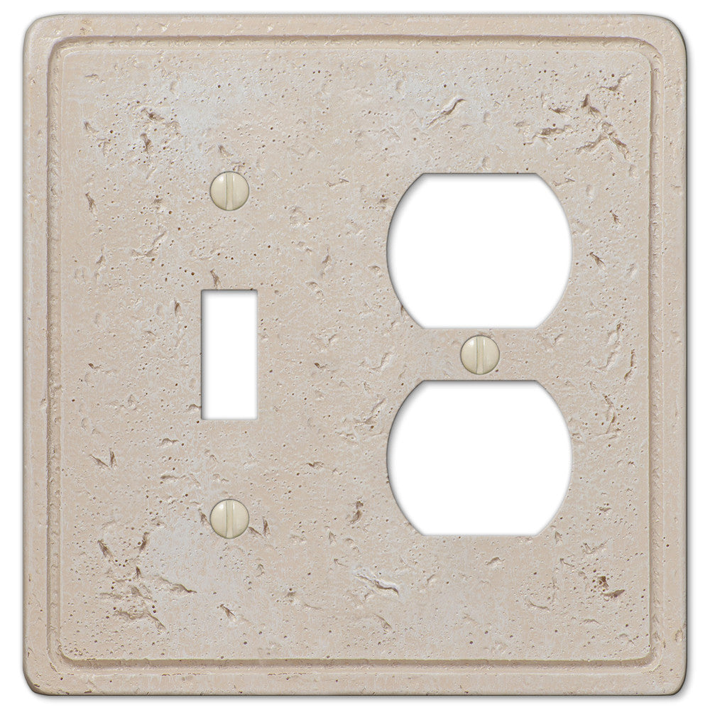 Faux Stone Cream Resin - 1 Toggle / 1 Duplex Outlet Wallplate - Wallplate Warehouse